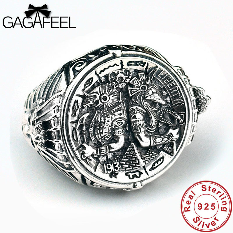 GAGAFEEL Vintage Ancient Egypt 925 Silver Man Rings High Quality Solid 100% Sterling Silver Adjustable Rings Men Jewelry Gifts ancient egypt