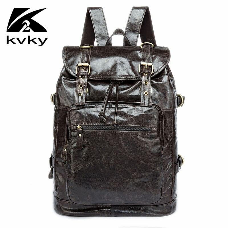 KVKY Vintage Genuine Leather Men Backpack Fashion School Bag Men Travel Bag Real Leather Document Laptop Bags Men Backpack Male