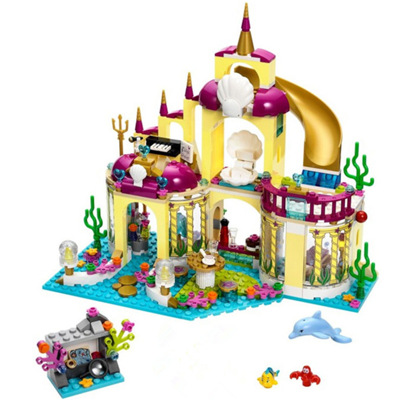 10436 JG306 Ariel's Undersea Palace Building Bricks Blocks Toys Girl Game House Gift Compatible with blocks Princess mermaid gonlei 10407 friends pop star tour bus building blocks sets bricks toys girl game house gift compatible with