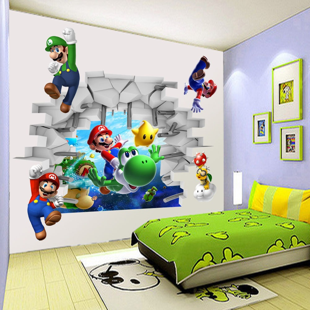 Buy cartoon zooyoo super mario bros wall for Mural kids room