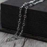 Thai Silber Retro Kreuz Halskette Multi-Element Kreuz-Blume Persönlichkeit Persönlichkeit Pullover Kette Sterling Silber 925