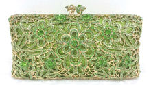 Free shipping !! A15-31,green color fashion top crystal stones ring clutches bags for ladies nice party bag