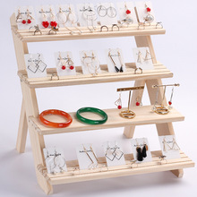 Vassoio Dellesposizione dei monili Orecchini di Pendente Anelli di Visualizzazione Blocchi bottiglia di Legno Jewelry Display Holder joyeros organizador de joyas