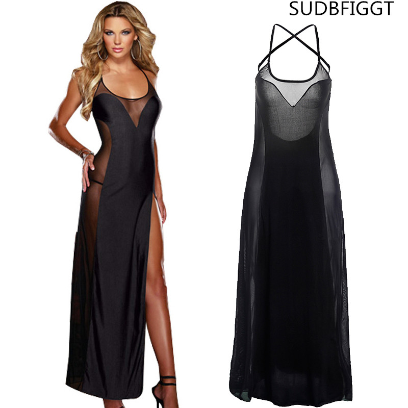 Us 1069 15 Offnew 2018 Women Sexy Long Slip Dress Ladies Sex Back Through Intimate Lace Full Slips Plus 6xl In Full Slips From Underwear