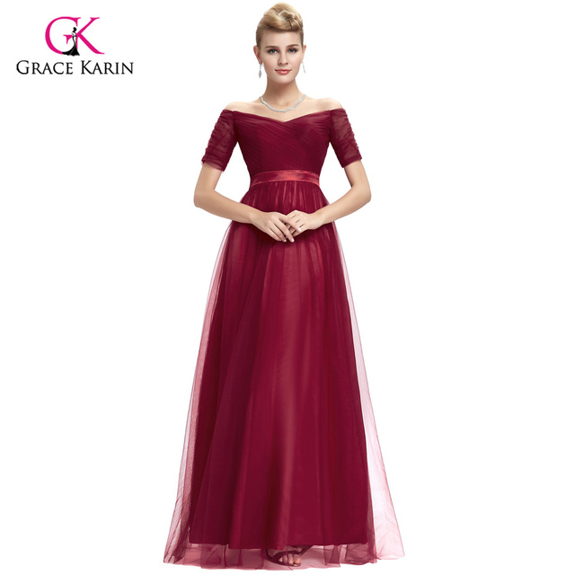 Burgundy Prom Dress 2018 Grace Karin Black Prom Dress Women\'s Long ...