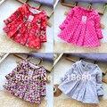 Envío libre al por menor nuevo 2013 primavera otoño ropa para niños del bebé de la muchacha remata la blusa niños flor de manga larga camisetas