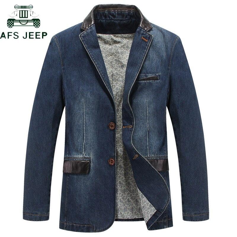 AFS JEEP Brand Denim Blazer Men Smart Casual Leather Collar Blazer Hombre Autumn Winter Cotton Denim Jacket Men Plus Size M-4XL