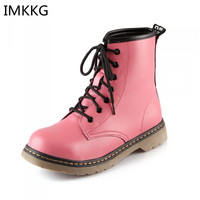 2016 New Winter Woman Martin Boots Women Mid Calf Boots Dr Design PU Leather Fashion Lace