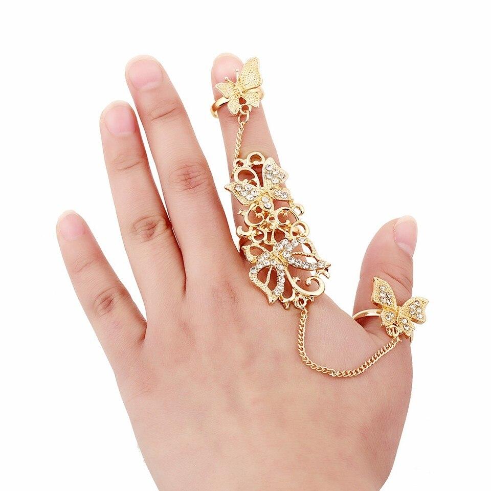 Gold Chian Link Double Ring Rhinestone Flowers Butterfly Full Finger Ring