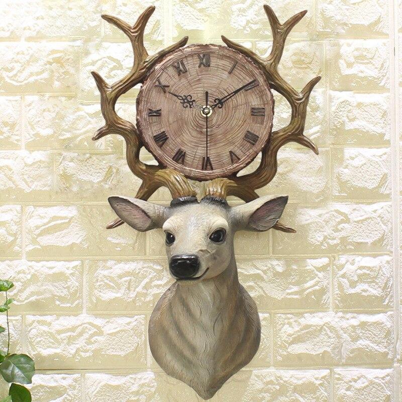 Creative Resin 3d Deer Head Wall Clock Living Room Art Decoration Adornment Crafts Statue Quartz