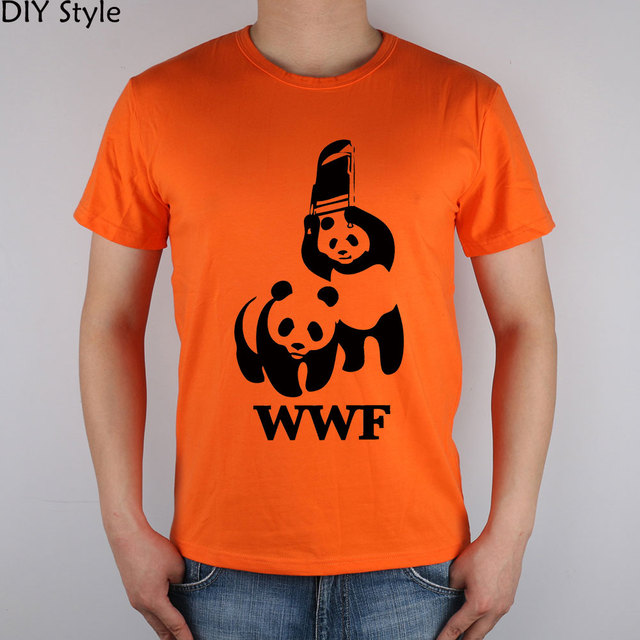 6c83f222 FUNNY WORLD WILDLIFE FOUNDATION WWF T-shirt cotton Lycra top 6272 Fashion  Brand t shirt