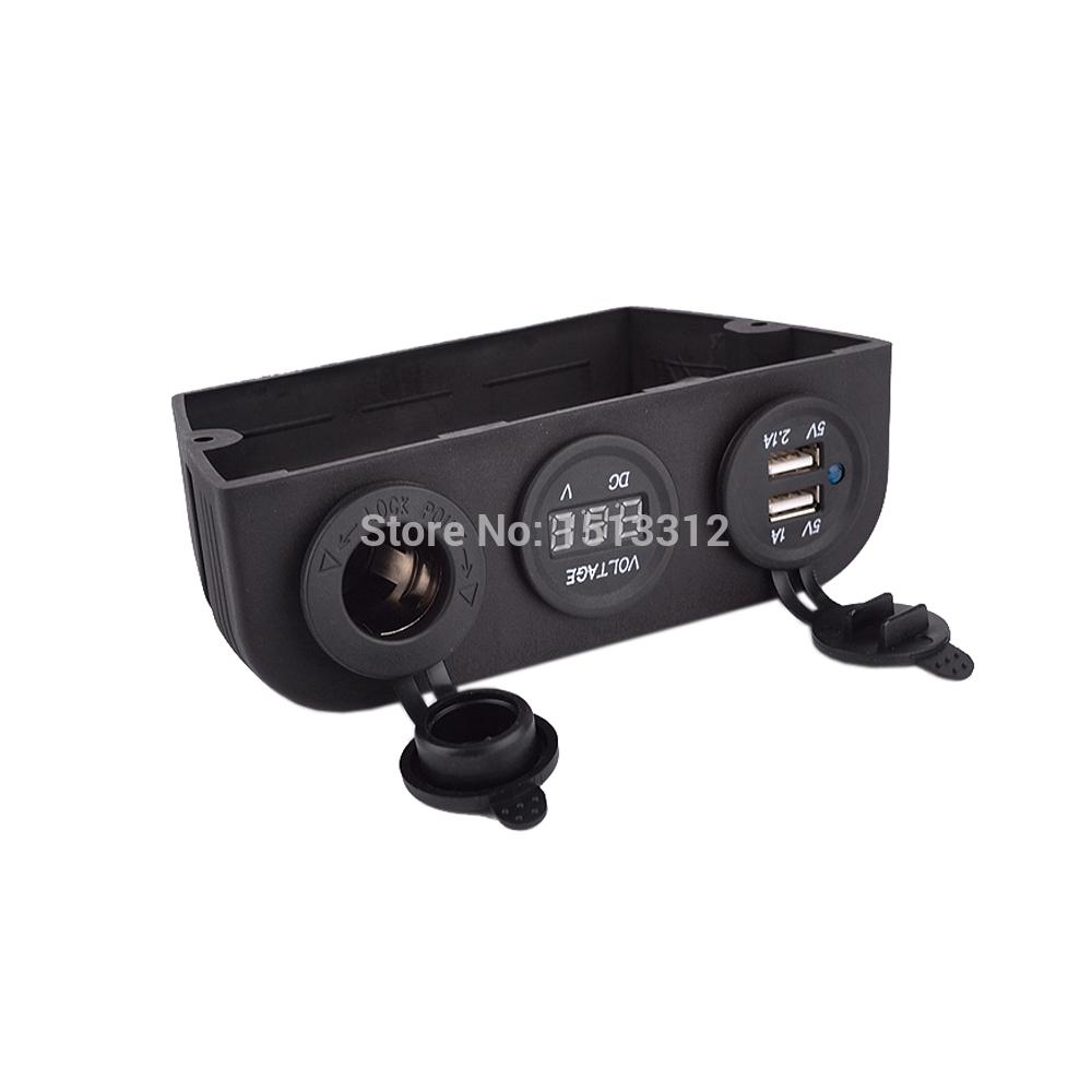 Prix pour Nouveau 12 ~ 24 V Double USB Moto Adaptateur Chargeur avec Allume-cigare Socket/Numérique Voltmètre Livraison Gratuite