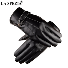 LA SPEZIA Warm Gloves Men Leather Winter Black Touch Screen Man Windproof Fashion Lined Soft Male Mitterns With Button
