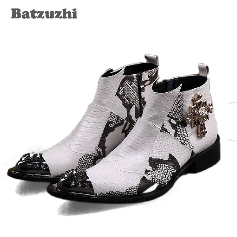 Batzuzhi Man Boots high help man's leather boots Luxury Handsome pointed steel toed Botas Wedding Ankle Boots for man,Size 38 46
