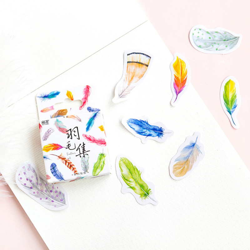 45 pcs/box Colorful feathers paper sticker decoration diy diary scrapbooking sealing sticker childrens favorite stationery