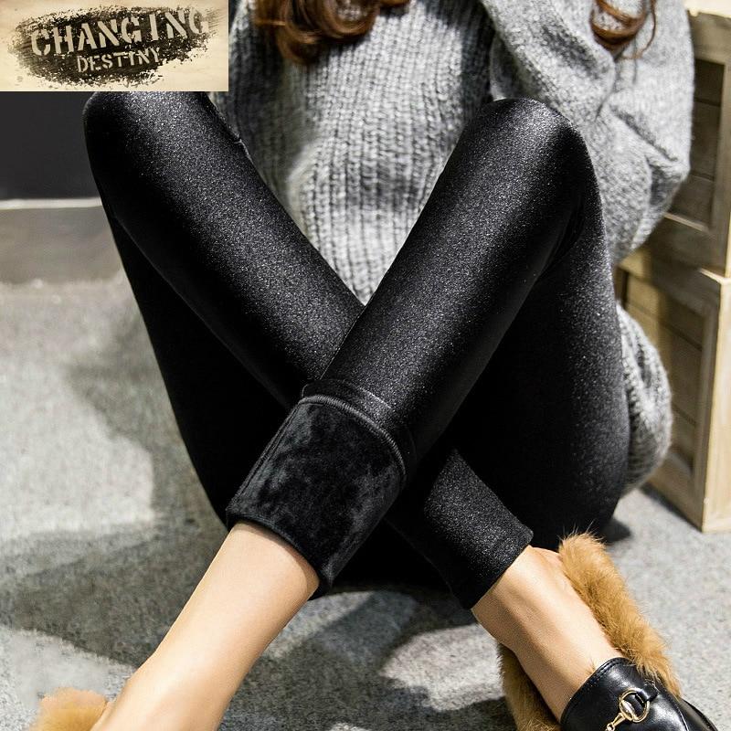 Otoño Invierno de las mujeres polainas desgaste exterior Leggings de niña grueso Plus de Slim era delgada pantalones calientes pantalones X-3xl tamaño leggings
