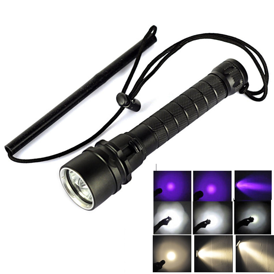 UV/White/Yellow light Led diving flashlight underwater diving 100M 3*cree XM-L2 6000 lumens Promise dimming LED flashlight torch