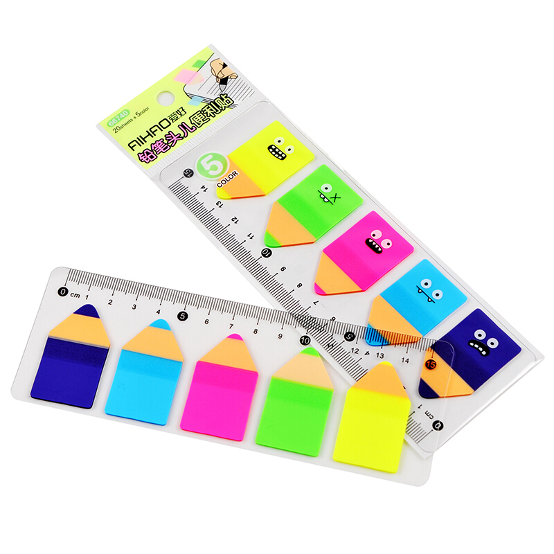 Cute Candy Color Pencil Stub Memo Pad Sticky Notes  Page Flag Index With 15cm Rulers School Supplies