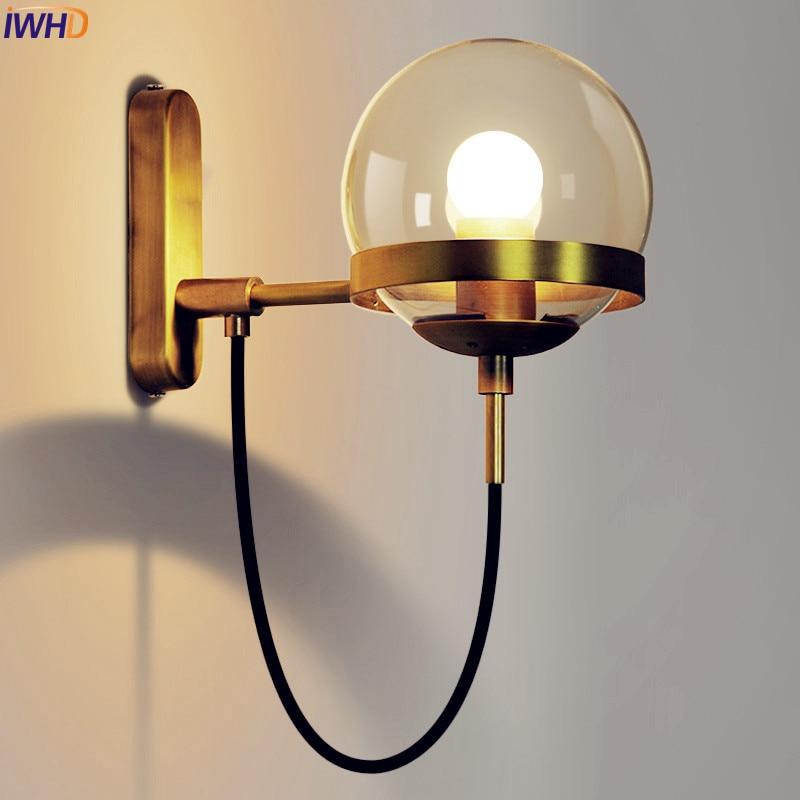 Lampe de mur LED moderne nordique salle de bain chambre boule de verre en cuivre Vintage appliques Wandlamp appliques Arandela LED escalier lumière