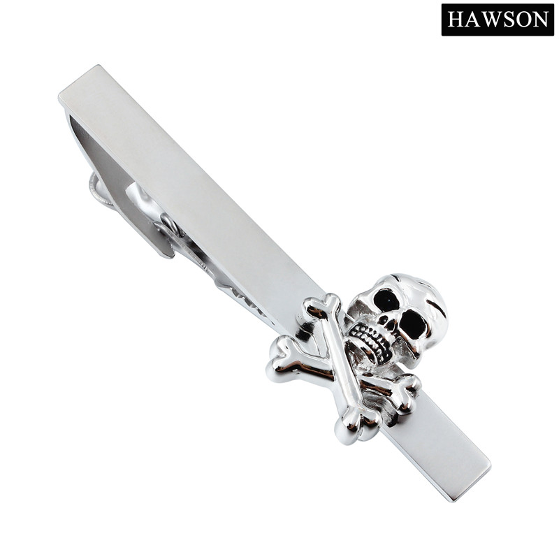 HAWSON Sølvfargede bindeklips for menn Personlig designer Skull Tie Pin for Sale