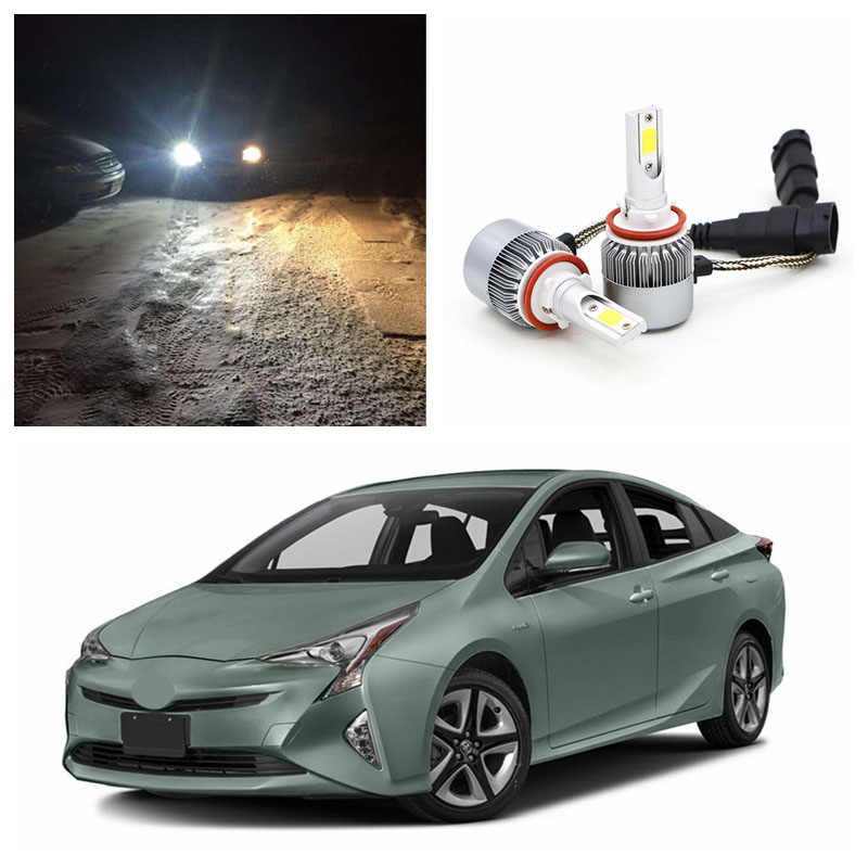 Edislight High Power LED Headlight Kit 72W 7600LM White Car Light Low Beam Bulbs For 2010-2016 Toyota Prius Headlamp 6000K