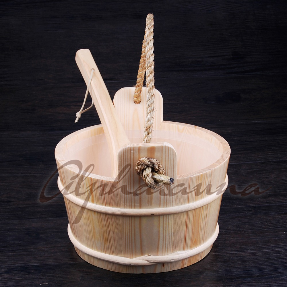 Free shipping 4L Core grip Pine Bucket and Ladle combined with Insert Wholesaler, Sauna accessories factory prices