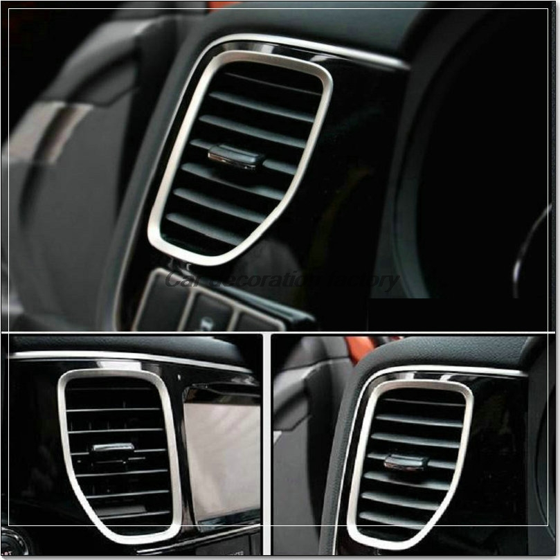 car styling stainless steel dashboard air vent decorative outlet trim cover auto accessories for. Black Bedroom Furniture Sets. Home Design Ideas