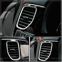 Styling car dashboard air vent salida decorativa del ajuste de acero inoxidable cubierta de accesorios de auto para mitsubishi outlander 2013 2014