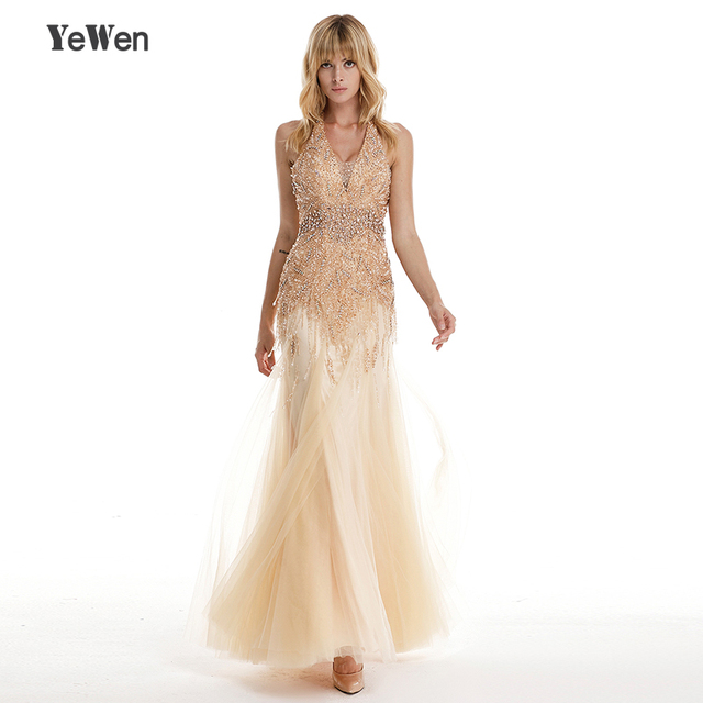 Luxury Halter Shaking Gold Sexy Mermaid Evening Dress 2018 crystals Beading  V neck Backless Prom Evening Dresses Robe De Soiree 3d45932bb89a