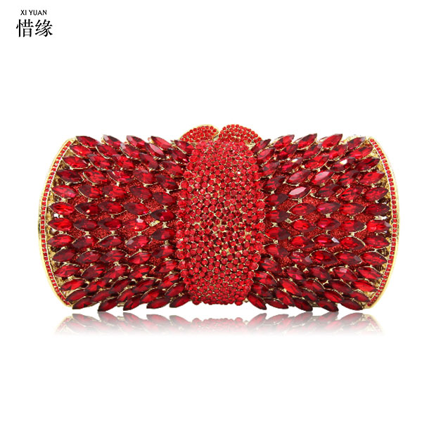 XIYUAN BRANd FEMALE Evening Bags RED Women Clutch Bags Evening Clutch Bags Wedding Bridal Handbag Bridesmaids Rhinestone Bags все цены