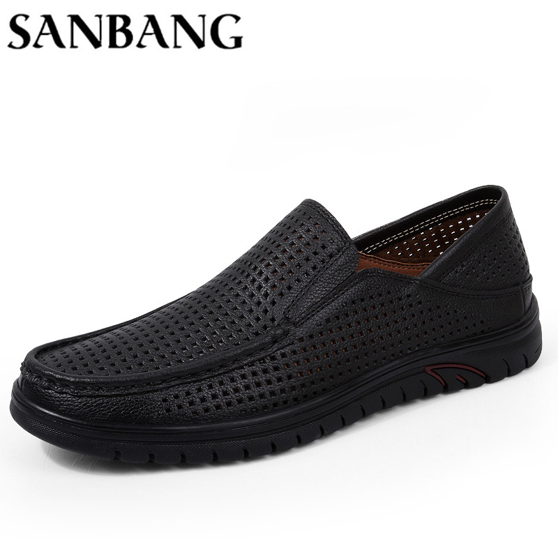 Summer Shoes Men Genuine Leather Hollow Breathable Flats Loafers Men Casual shoes Slip-on Driving Shoes Zapatos Hombre wx5 genuine leather shoes men top quality driving flats shoes soft leather men shoes loafers moccasins breathable zapatos hombre