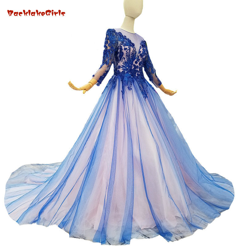 Backlakegirls Cheap Royal Blue Tulle Evening Dress Court Train Long Sleeves Ball Gown Floor-length Illusion Party Prom Dress