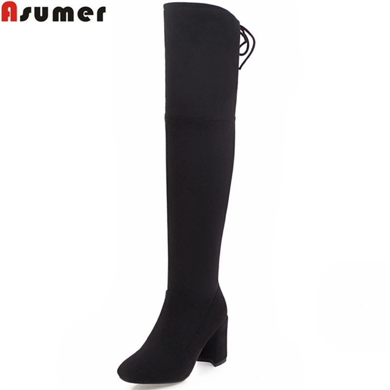 ASUMER fashion autumn winter women boots square heel flock zipper ladies boots cross tied black gray over the knee bootsASUMER fashion autumn winter women boots square heel flock zipper ladies boots cross tied black gray over the knee boots