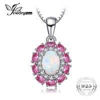 JewelryPalace 0.9ct Oluşturulan Kadınlar Için Opal Kakma Pembe Sapphire Kolye kolye 925 Gümüş Kutu Zincir Düğün Takı