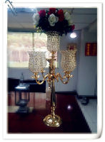 Gold Right 5 Arm Tuilp Candelabra 6*8inch*5pcs Tuilp H35inch Crystal Wedding Decoration Candlestick