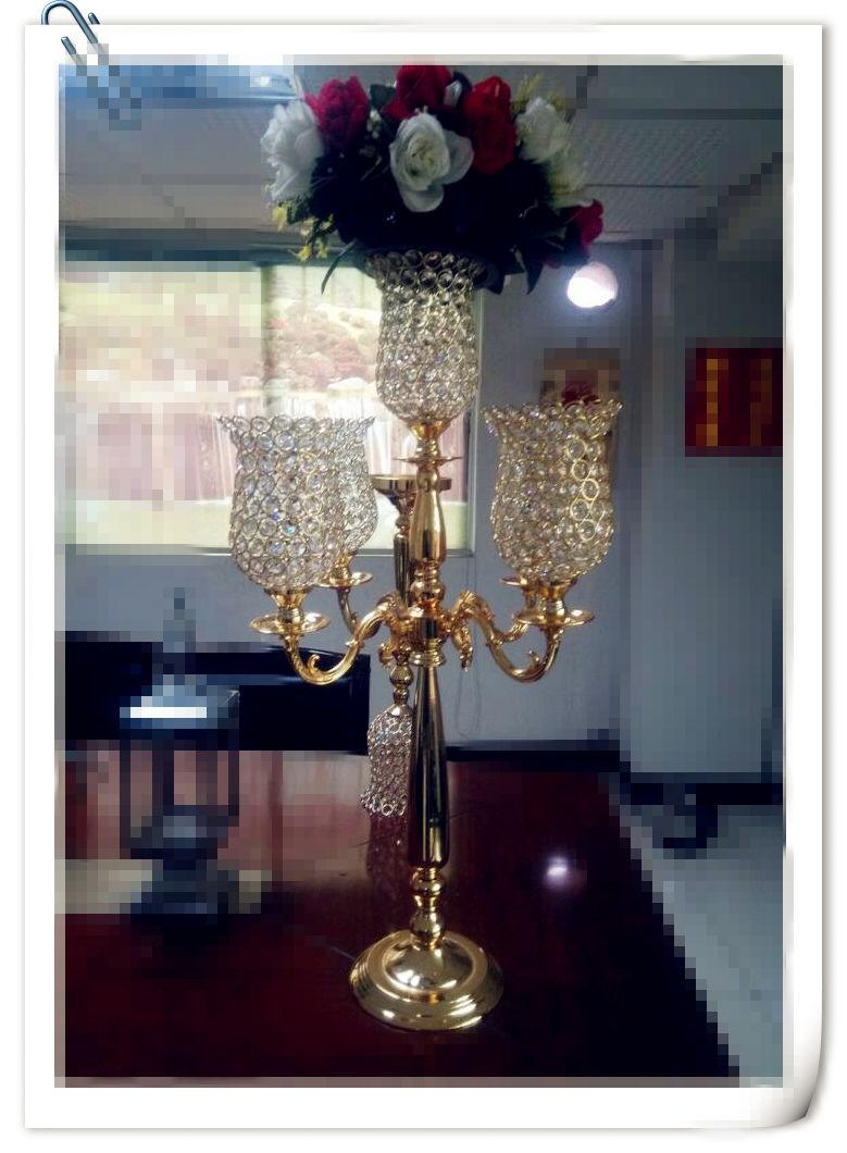 Or Droite 5 Bras Tulipe Candélabre 6*8 pouces * 5 pièces Tulipe H35inch Cristal Décoration De Mariage Bougeoir