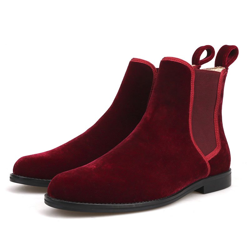 New Winter Men's Fashion Handmade Craft Classic Style Chelsea Boots Male British Burgundy Velvet Ankle Casual Oversize Boots oversize burgundy raglan sleeve pocket front plunge sweater