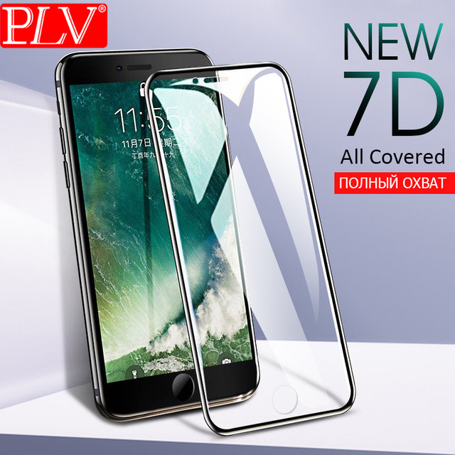 PLV 7D Full Cover Screen Protector Glass For iPhone 6 6S 7 8 Plus Tempered Glass On The For iPhone 6 6s 7 8 Protective Film