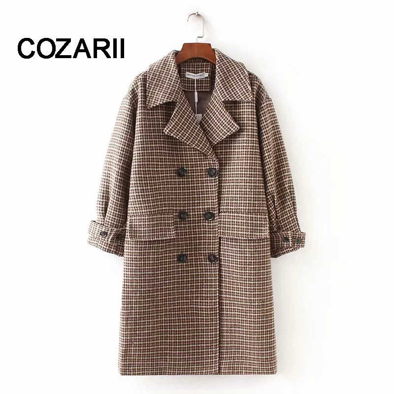 COZARII 2018 casaco feminino blazers england style double breasted striped long women bomber blazers jacket plus size tops