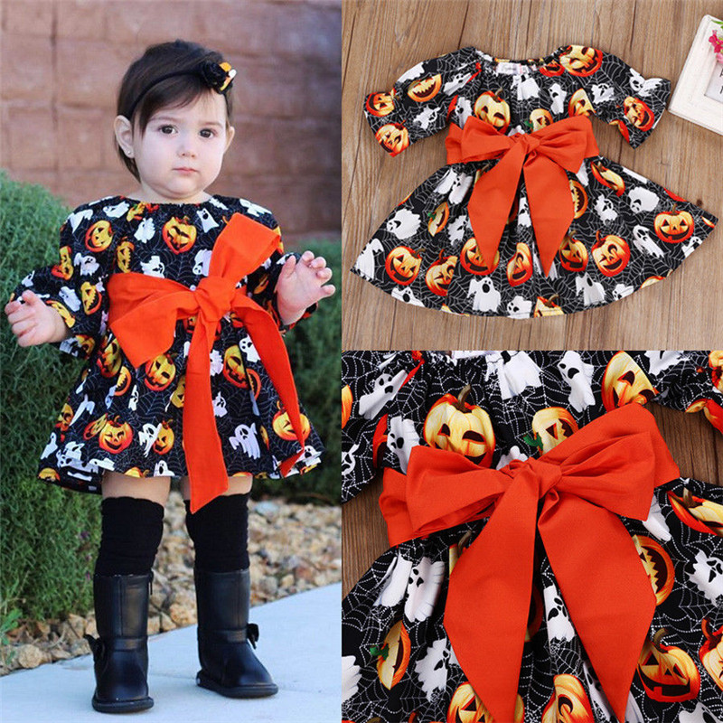 Halloween Toddler Baby Kids Girls Clothing Dresses Casual Festival Party Pumpkin Bow Belt Cute Dress Girl 1-6T