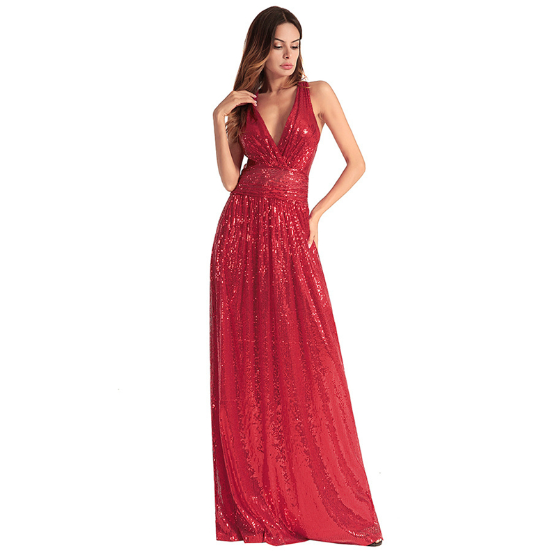 UNIQUEWHO Ladies Women Long Backless Sequin Dress Black Red Pink Sexy Deep V Neck Maxi Dresses Evening Party Dress Spring Summer baishanglinna 2018 new spring and summer women dress black gray sleeveless knitted dresses sexy tight elastic dress party dress