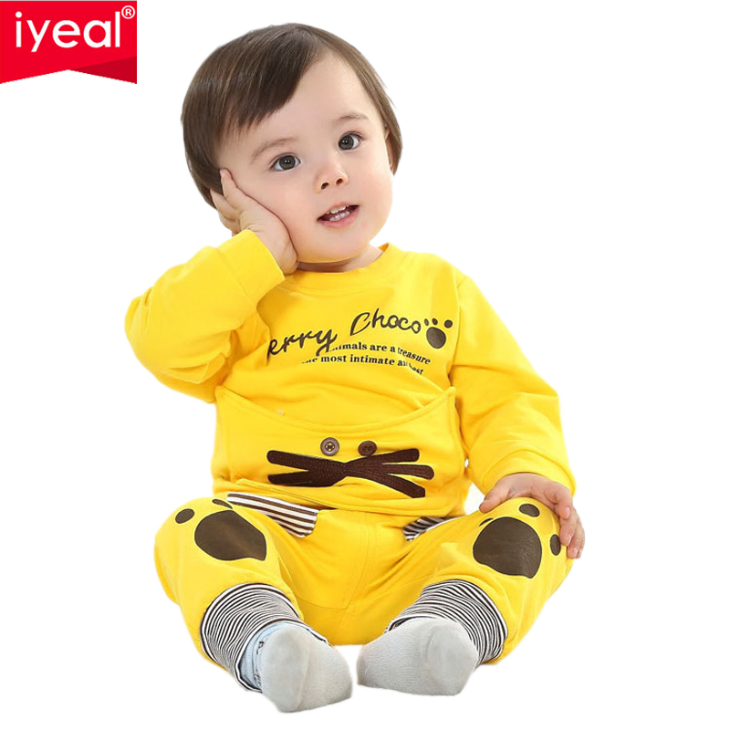 IYEAL Baby Girls clothing Set Brand Cartoon Child long Sleeve suit Autumn Cotton Toddler baby sets kids Boys Girls Clothes girls clothing sets 2015 autumn child casual long sleeve cat kitty cartoon t shirt