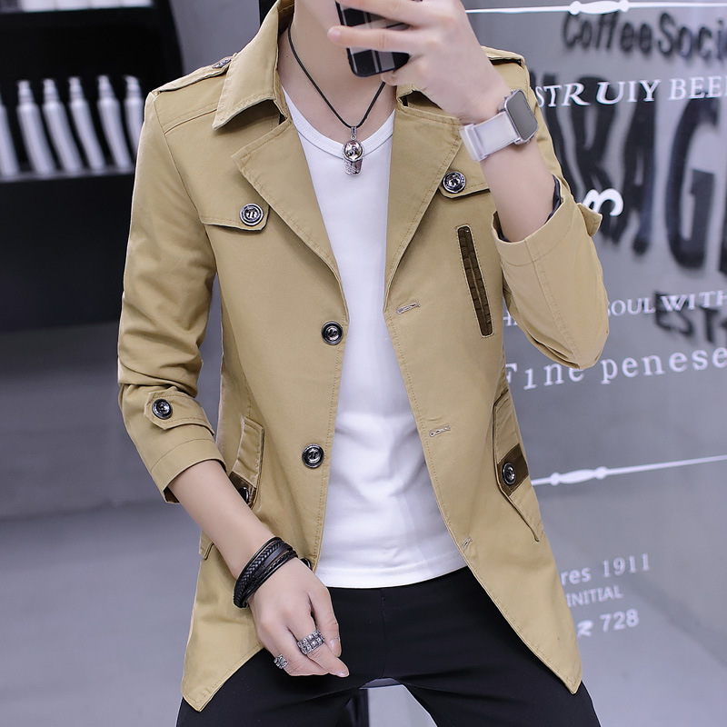Fall 2021 new men long thin section windbreaker jacket trend of men's business casual coat coat of cultivate one's morality