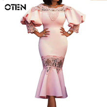 OTEN Mermaid lace dress Women 2018 New Arrival Sexy Off shoulder Hollow Out midi Elegang Ladies Evening Party special dresses