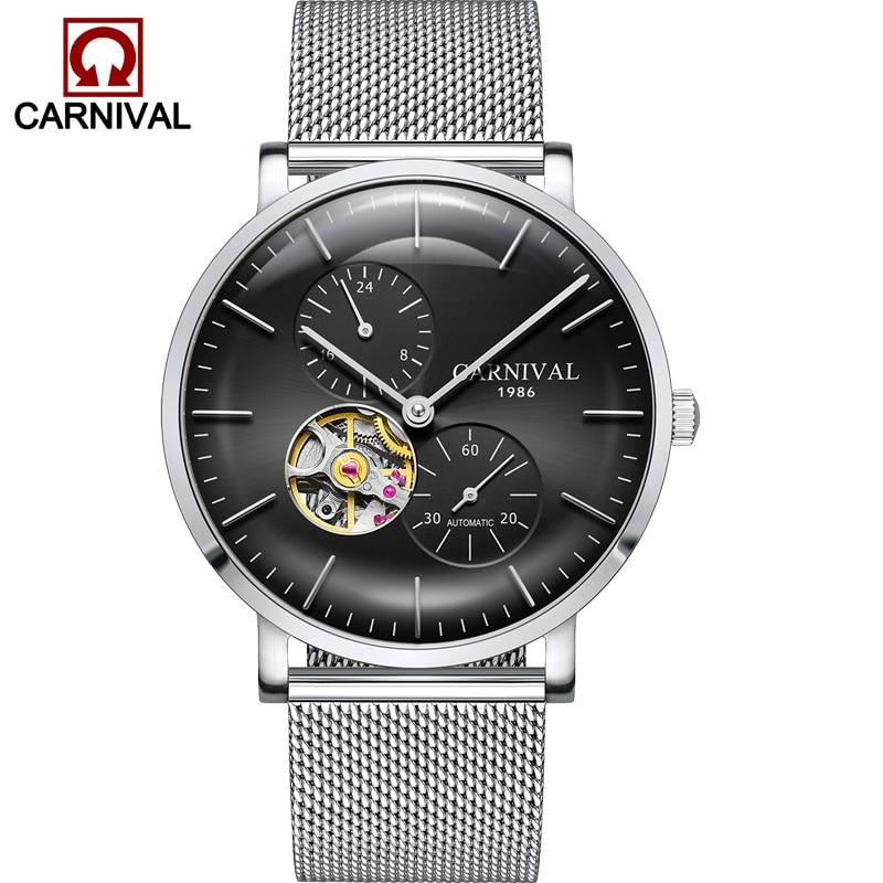 Karnawał ultracienkich tourbillon automatyczne zegarki mechaniczne mężczyźni luksusowa marka pełna stali nierdzewnej wodoodporny zegarek męski zegary relogio kol saati w Zegarki mechaniczne od Zegarki na  Grupa 3
