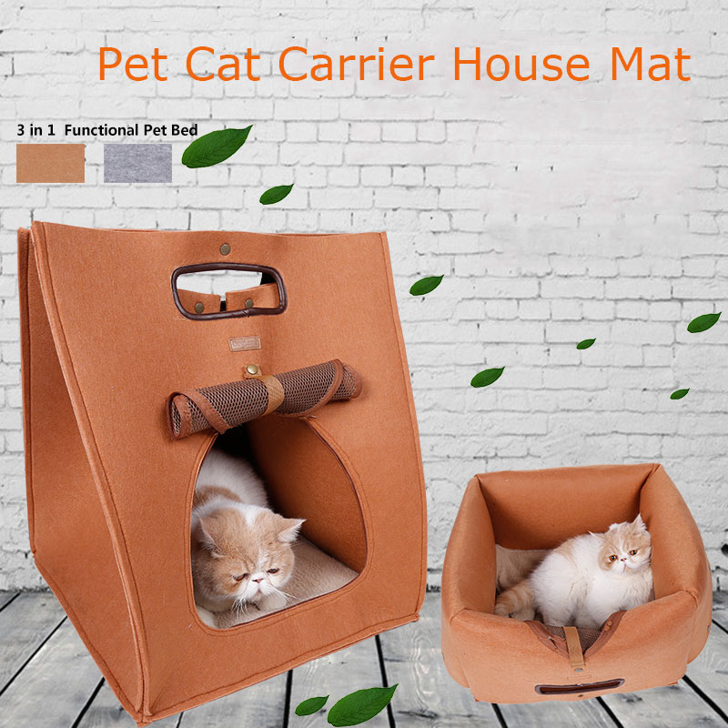 Breathable Functional Pet Bed House Outdoor Portable Pet Cat Dog Carrier Puppy Play Kennel Wool Felt Cave For Small Dog Bed Bag