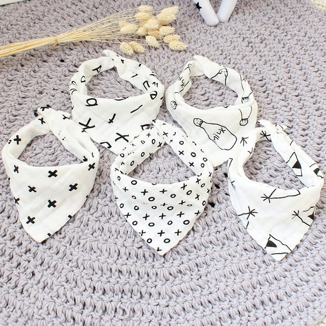 5 Pcs Baby Bibs Pure Muslin Cotton Triangle Bibs Burp Cloths For Infant Cartoon Handkerchief For Children Bandana Bib