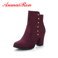 ANMAIRON Winter Women S Shoes Ankle Square Heel High Heels Metal Decoration Women Boots Travelling Dating