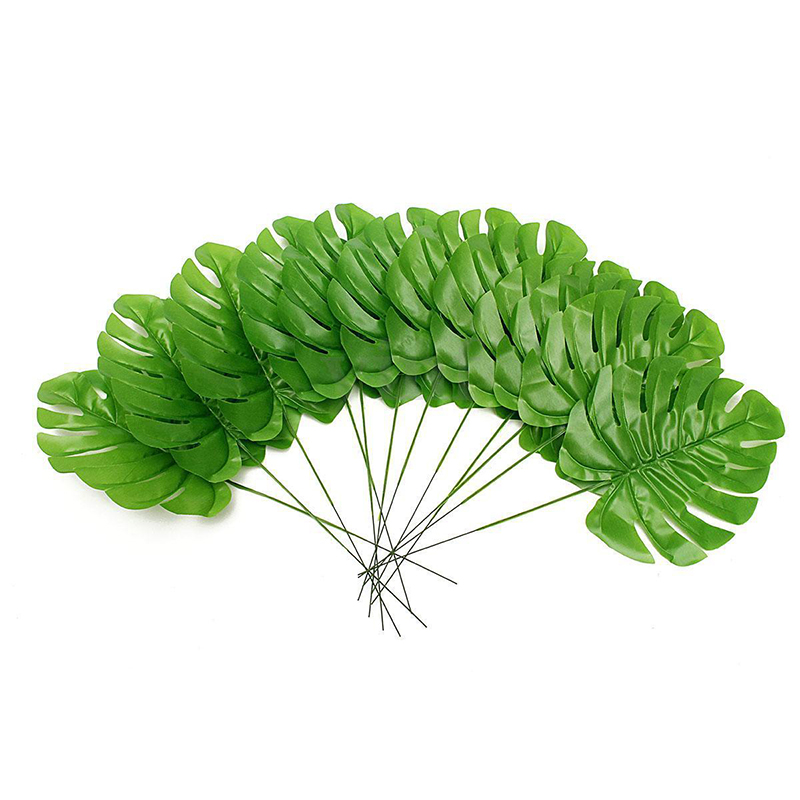 12pcs Large Artificial Monstera Branch Palm Fern Turtle Leaf Faux Foliage Leaves For Home Decoration