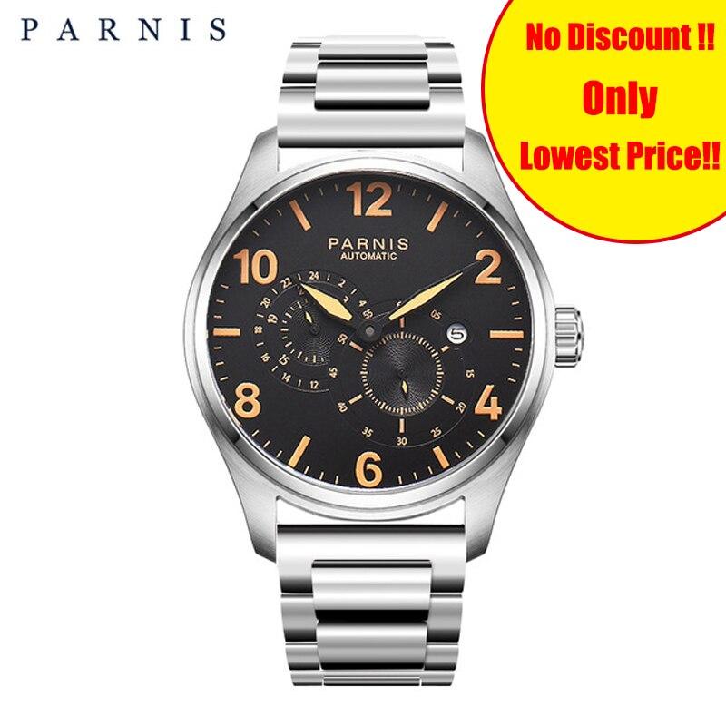 2019 Nova 44 milímetros Parnis Assistir Mens Relógio Mecânico relógio de Pulso dos homens Automáticos do Aço Inoxidável Malha Cinta Luminosa 12/24 Horas homem|Relógios mecânicos| |  - title=